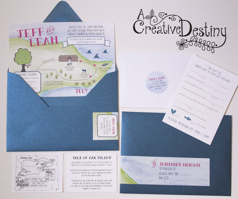 oak island water colour wedding invitations with  ad-libs rsvp cards by www.creativedestiny.ca