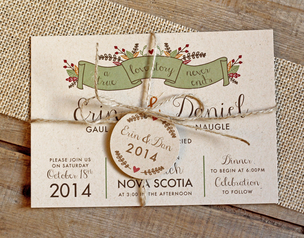 fall wedding invitation twine kraft paper green left banner, a true love story never ends, fall laurel