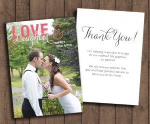 love and laughter thank you card, happily ever after, printed thank you's creative destiny.ca