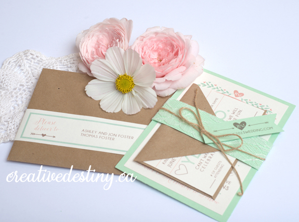 mint and pink invitations, song request card, rustic chic wedding invitations