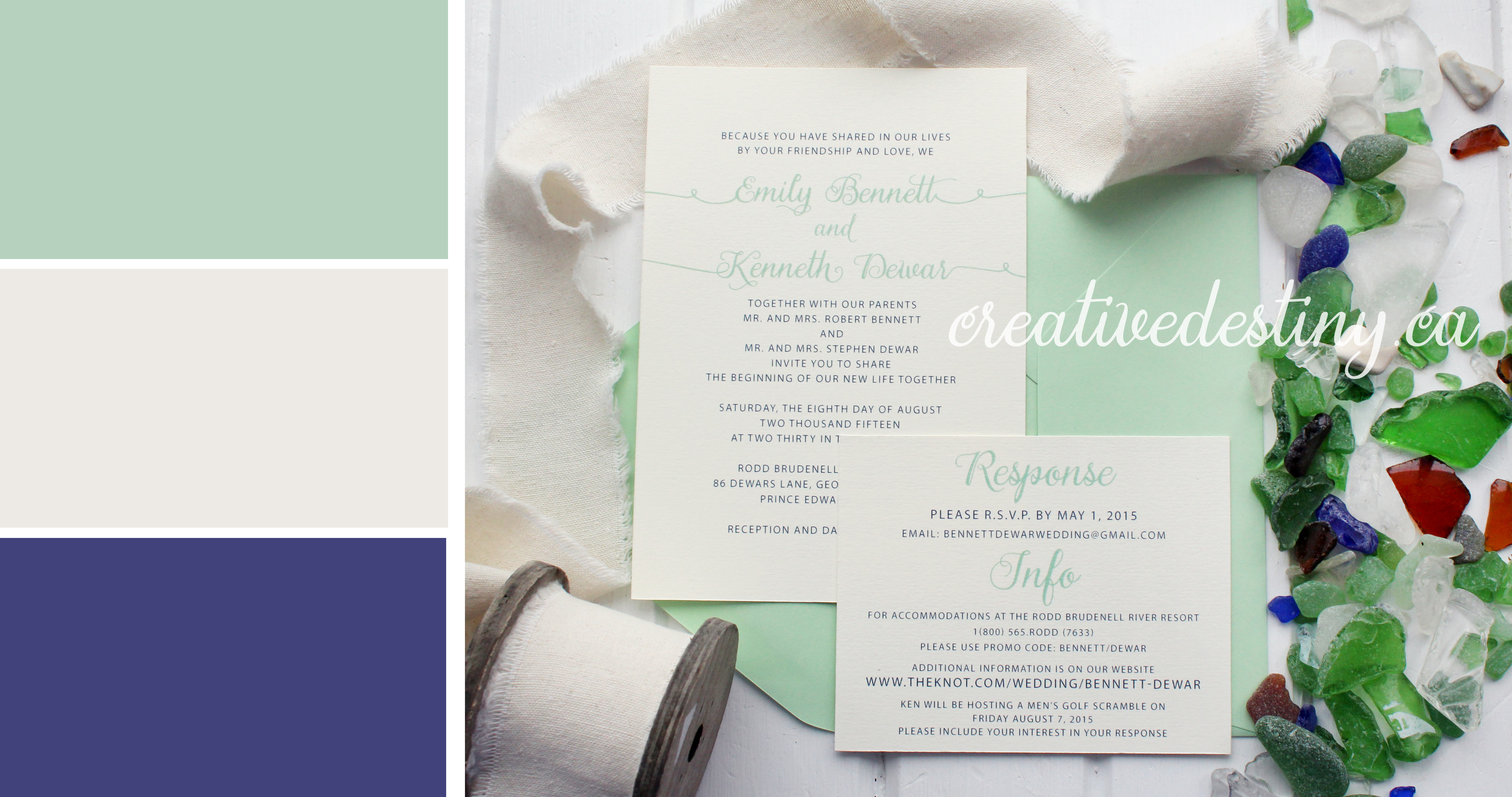 wedding colour inspiration ivory, mint and navy