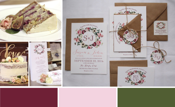 rustic vintage wedding inspiration, pink, merlot, green wedding colours