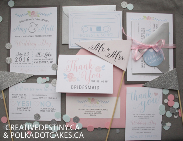rose quartz and serenity wedding inspiration, halifax wedding vendors, halifax cakes, halifax wedding invitations, wedding show display,