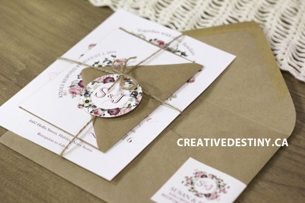rustic vintage floral wedding inspiration, stationery and cakes, halifax indie social, custom wedding stationery