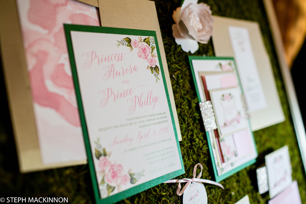 bespoke event sleeping beauty enchanted forest wedding theme. Pink and green elegant wedding invitations, watercolour wedding stationery, nova scotia wedding invitations