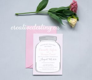 Chic casual rustic mason jar invitation