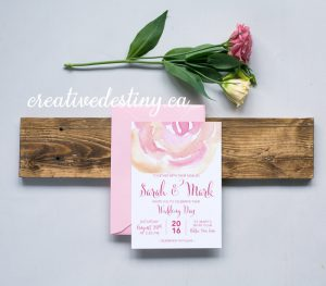 cute casual rosette watercolour invitation