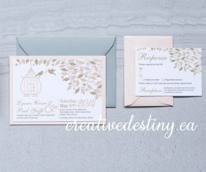 whimsical love bird invitation design