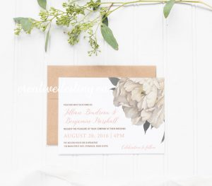 Romantic elegant vintage white floral rustic invitation