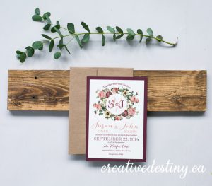 Romantic vintage floral rustic invitation