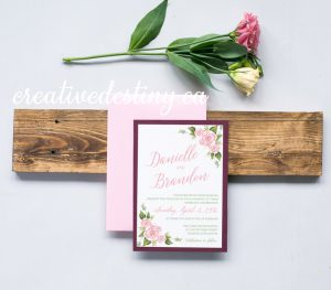 Pink floral pink watercolour invitation